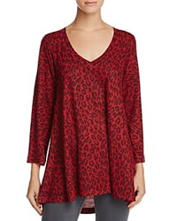 Nally And Millie Leopard Print High Low Tunic Red Leopard