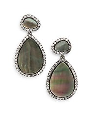 Freida Rothman Grey Mother Of Pearl Teardrop Earrings