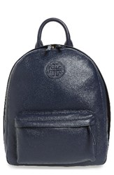 Tory Burch Pebbled Leather Backpack Blue Tory Navy