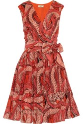 Issa Printed Cotton And Silk Blend Dress Tomato Red