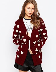 Sugarhill Boutique Heart Cardigan Burgundycream