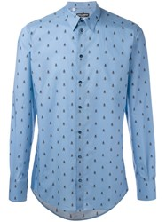 Dolce And Gabbana Bee Print Shirt Blue