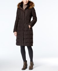 Calvin Klein Faux Fur Trim Hooded Down Puffer Coat Espresso
