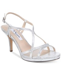 Nina Blossom Strappy Embellished Evening Sandals Women's Shoes Silver Metallic