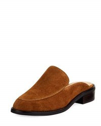 Neiman Marcus Ailey Suede Slide Loafer Mule Brown