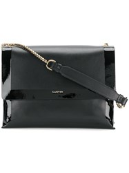 Lanvin Varnished Sugar Bag Lamb Skin Calf Leather Cotton Black