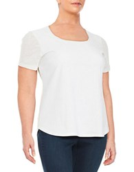 Calvin Klein Plus Perforated Faux Suede Tee White