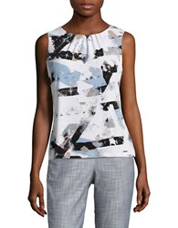 Calvin Klein Petite Pleated Abstract Shell White