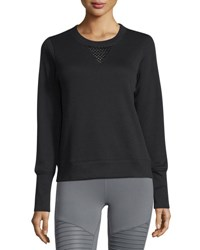 Alo Yoga Downtown Mesh Panel Long Sleeve Sport Pullover Black