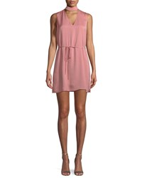 Cupcakes And Cashmere Hansel V Neck Mini Dress With Self Tie Waist Pink