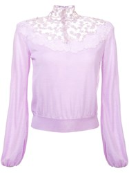 Giambattista Valli Floral Lace Detail Knitted Jumper Purple