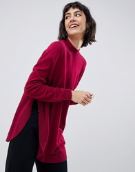 Selected Eileen High Neck Jumper In Wool Blend Beet Red