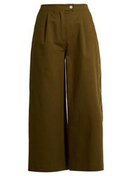 Osman Tavi Sateen Wide Leg Trousers Khaki