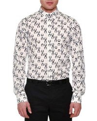 Dolce And Gabbana Allover Horseshoe Print Sport Shirt White Black
