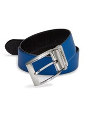J. Lindeberg Asher 40 Structured Leather Belt Eletric Blue