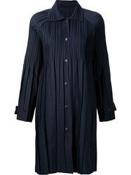 Issey Miyake Pleats Please By Pleated Lightweight Coat Blue