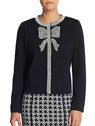 St. John Beaded Bow Cardigan Black Cream