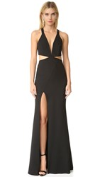Michelle Mason Cutout Plunge Gown Black