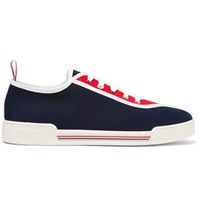 Thom Browne Striped Canvas Sneakers Navy