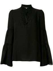 Andrew Gn Woven High Neck Ls Blouse 60