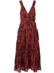 Proenza Schouler Pleated Neck Empire Dress Red