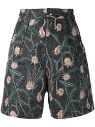 Isabel Marant Floral Printed Shorts Women Cotton Linen Flax 40