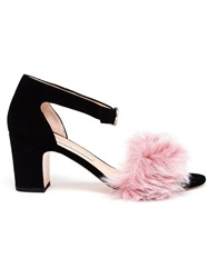 Bionda Castana Suede Sandals With Faux Fur Black