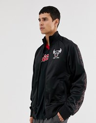 Mitchell And Ness Chicago Bulls Track Jacket In Black