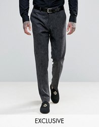 Heart And Dagger Skinny Tuxedo Trousers Charcoal Grey