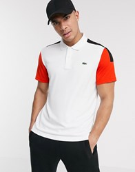 Lacoste Sport Poly Polo With Colour Blocking In White