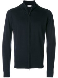 John Smedley High Neck Zipped Cardigan Blue