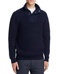 Scotch And Soda Structured Half Zip Pullover Sweater Navy