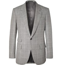 Kingsman Eggsy's Grey Prince Of Wales Checked Wool And Linen Blend Suit Jacket Gray