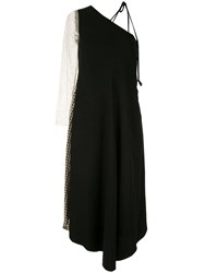 Song For The Mute One Shoulder Draped Dress Black