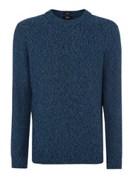 Hugo Boss Men's Salt And Pepper Knitted Crew Neck Jumper Teal