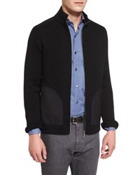 Ermenegildo Zegna Seed Stitch Chunky Knit Zip Up Cardigan Black