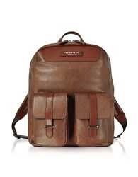 The Bridge Brown Leather Backpack W Two Front Pockets