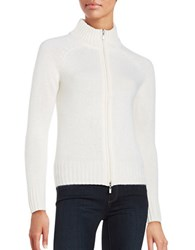 Lord And Taylor Cashmere Zip Front Cardigan Ivory