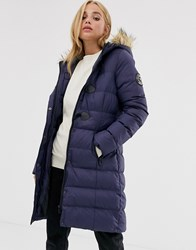 Brave Soul Wizard Long Padded Coat With Faux Fur Hood Navy
