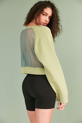 Silence And Noise Mesh Back Crop Pullover Sweatshirt Green