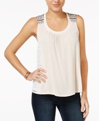 Miss Me Lace Trim Embroidered Tank Top Light Taupe