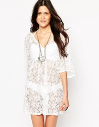 Max C London Max C Lace V Neck Mini Beach Dress White