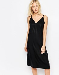 Weekday Dress With Back Detail Black Solid