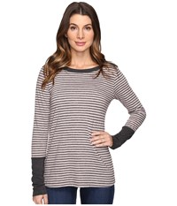 Mod O Doc Brushed Slub Stripe Long Sleeve Tee W Heather Contrast Dark Grey Women's T Shirt Gray