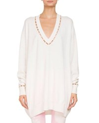 Givenchy Oversized V Neck Wool Cashmere Sweater W Pearlescent Trim Ivory