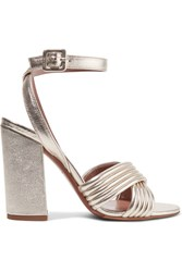 Tabitha Simmons Nora Quilted Metallic Textured Leather Sandals Gold