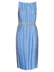 Nina Ricci Gathered Crinkle Twill Dress Light Blue