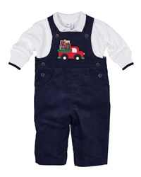 Florence Eiseman Pocket Full Of Presents Overalls W Long Sleeve Polo Top Size 6 24 Months Multi