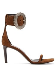 Saint Laurent Joplin Suede Sandals Tan