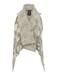 Crea Concept Spot Knit Waistcoat With Pin Light Grey